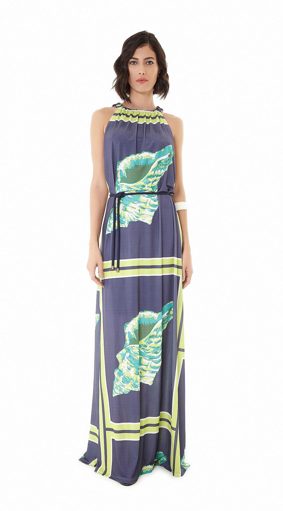 83673d043 Vestido Longo Malha Jersey Estampa Just Shell Com Cinto Azul - Maria ...