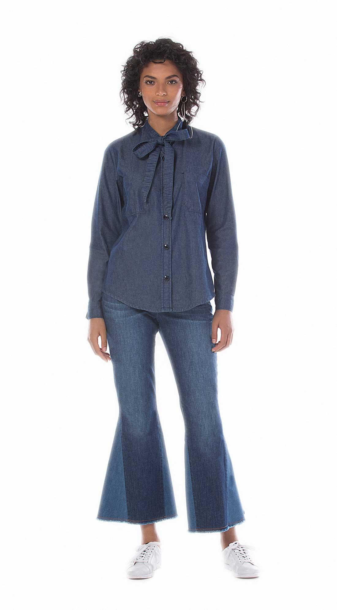 27bc79af44 Camisa Manga Longa Gola Laco Jeans - Maria Valentina