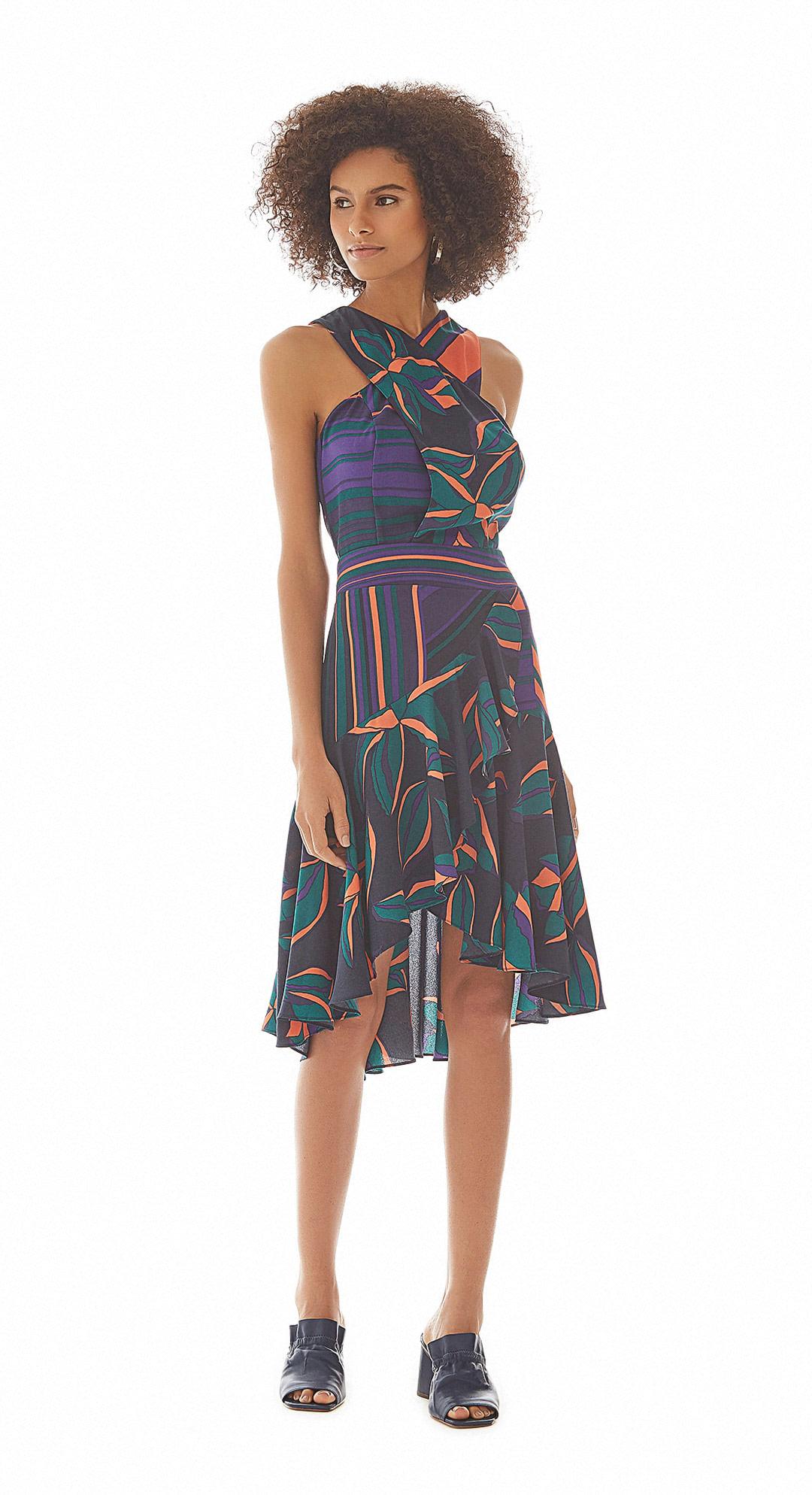 f4ceb1c701 Vestido Curto Decote Transpassado Com Babado Violeta - Maria Valentina