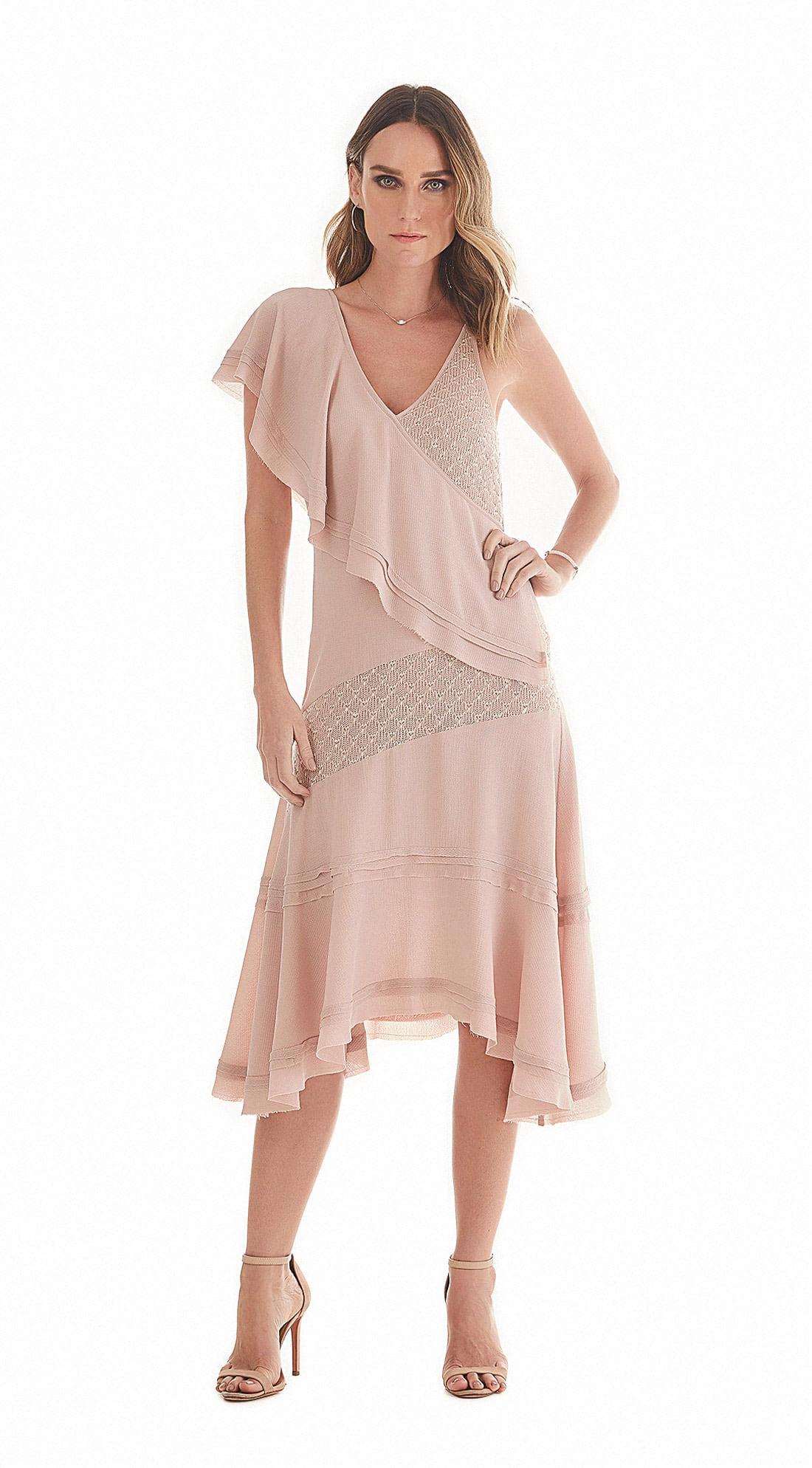 09d3b90818c9 Maria Valentina · Vestidos · Vestido Assimetrico Decote V Detalhe Renda Rosa