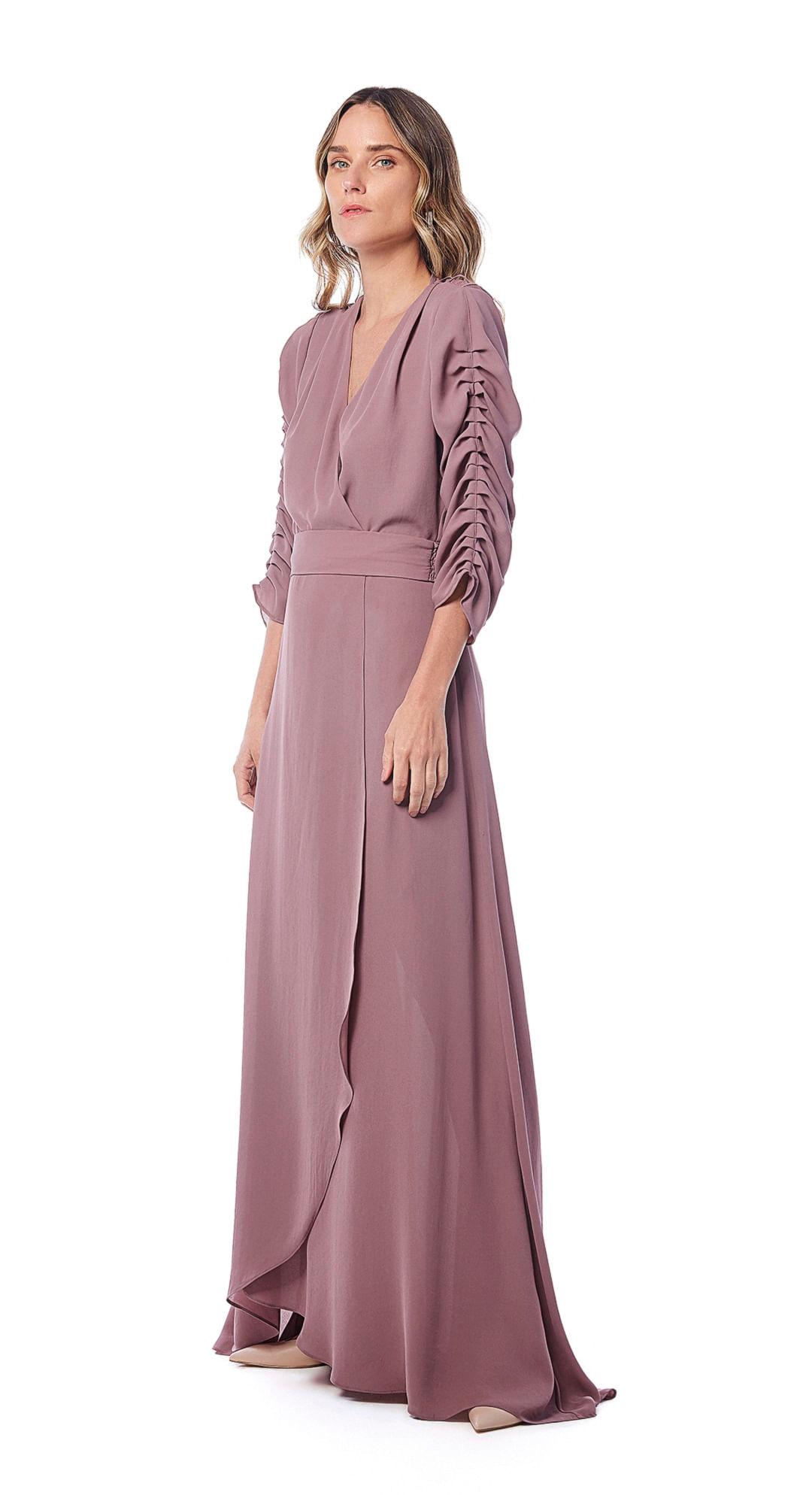 8265fcf54 Vestido Longo Decote Transpassado Detalhe Vies Rosa - Maria Valentina