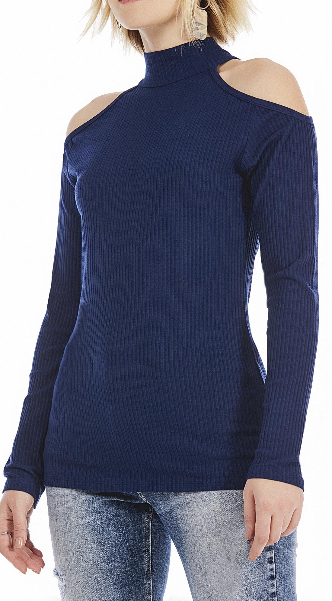 662da9a7c7 Blusa Gola Alta Manga Longa Abertura Ombro Azul - Maria Valentina